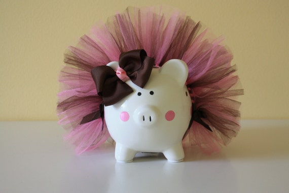 Small Piggy Bank With Bubble Gum Pink & Brown Tutu And Polka Dots