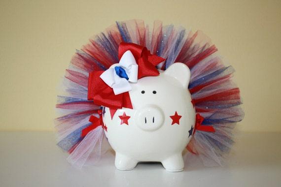Star Spangled Red ,White & Blue Medium Piggy Bank