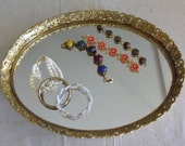Mirrored Tray with Floral Frame is Bright and Big