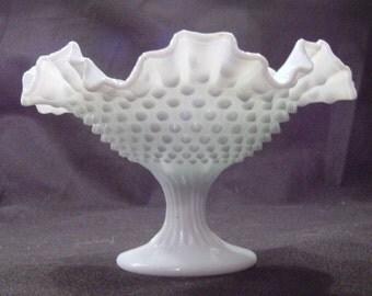 Vintage Fenton Hobnail Milkglass Compote