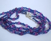 Adjustable Long Purple And Magenta Necklace