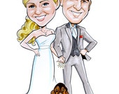 Great guest book alternative!  Caricature poster for signing at reception!