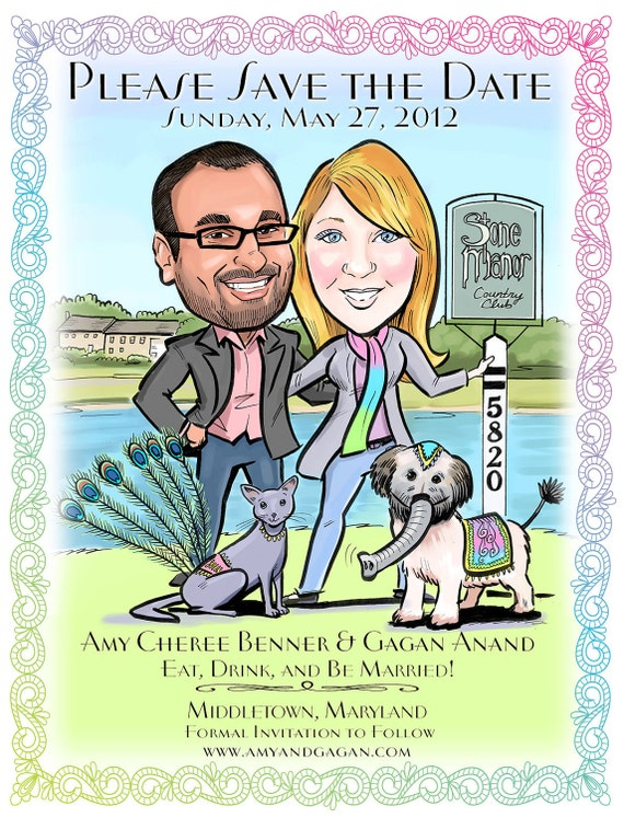 Caricature Portrait Wedding Save-the-Date Postcards, Magnets and Wedding Invitations