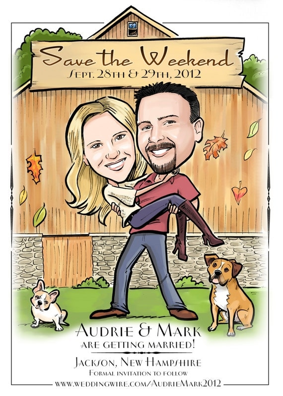 Cute Save the Date, Wedding Invitation, Custom Illustrated Caricature