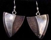 Shovel Shaped Copper an Silver Earrings