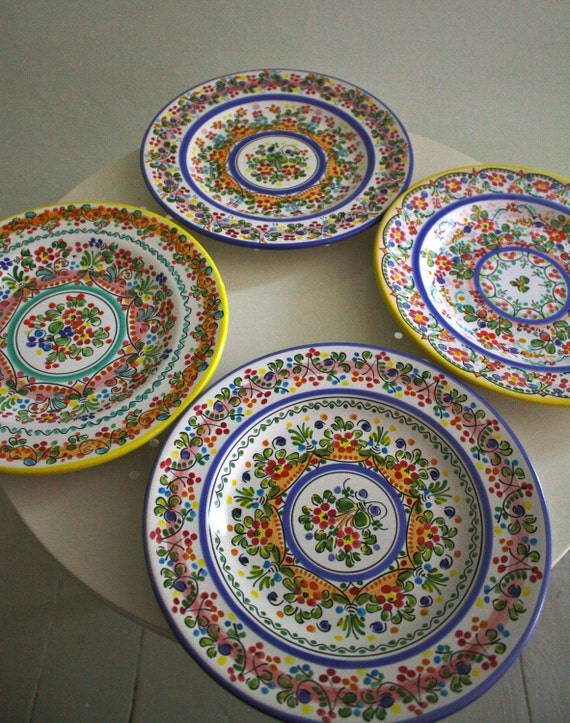 Handcrafted in Spain multi dot plate set of 4