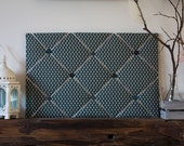 Teal Heart Print Fabric Memo Board