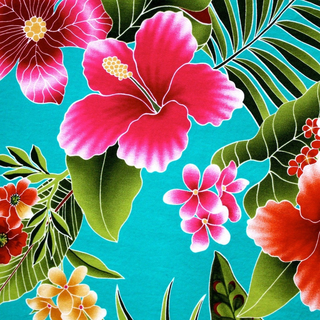 Universal image with printable hawaiian flowers