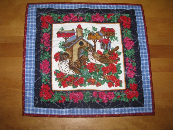 "Quilted ""Wren Couple with Bird House"" Wall Hanging"