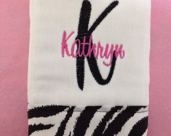 Zebra Burp Cloth with Initial and Name