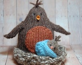 Knit Robin Bird with Baby Bird, Stuffed Waldorf Toy, Stuffed Robin in Nest, Mama Robin, Stuffed Bird, Woodland Nursery Decor, Bird Nursery