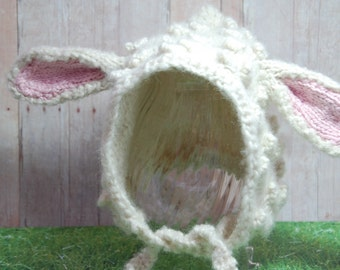 Little Lamb Hat (alpaca wool) - Older Child to Adult Sizes - White Pixie Bonnet Animal Ear