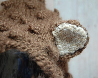 Bear Hat (alpaca wool) - Older Child - Adult sizes - Pixie - Bonnet - Little Bear