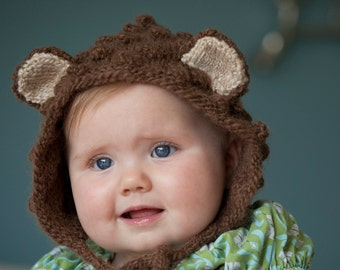 Baby Bonnet, Bear hat, Baby bear Hat, Toddler Animal hat, Brown bear hat, Boy hat, Girl Hat, Baby Photo Prop, Knit bear Hat, Animal Ears