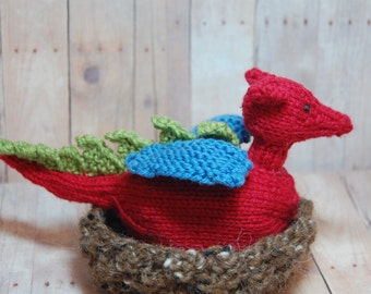 Dragon toy, Dragon Egg, Dragon Plush, Dragon Waldorf Toy, Red Dragon Hatchling in Nest, Dragon to Egg Toy, Easter Toy Basket Nature Table