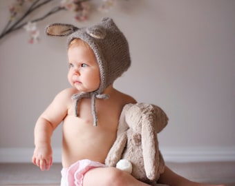Bunny Hat, Baby Bunny Hat, Knit Bunny Hat, Bunny Ears, Easter Rabbit, Newborn Photo Prop, Alpaca, Newborn bonnet, Halloween Bunny Costume