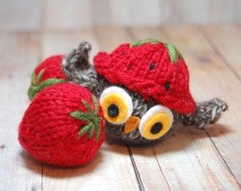Owl Ornament, Owl in Hat Ornament, Knit Owl Ornament, Stuffed Owl, Owl Christmas Ornament, Owl Toy, Strawberry Hat Owl, Stuffed Owl, Holiday