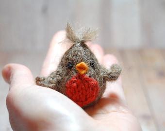 Bird Lapel Pin, Knit Robin Brooch, Bird Brooch, Spring Bird Pin, Mother's Day Gift, Knit Bird, Bird Accessory, Woodland Brooch, Rustic Pin