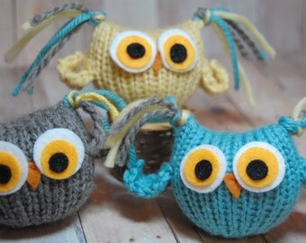 Knitting Pattern Owls - Tufty Owl Amigurumi - Waldorf Bird Toy PDF - Plush Woodland Bird Toy DIY