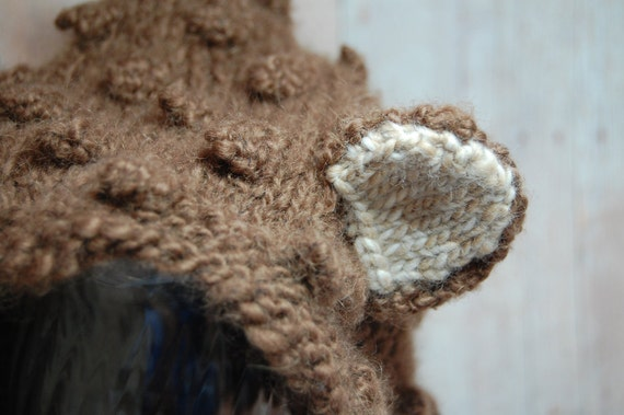 Bear Hat (alpaca wool) - Older Child - Adult sizes - Pixie - Bonnet - Little Bear