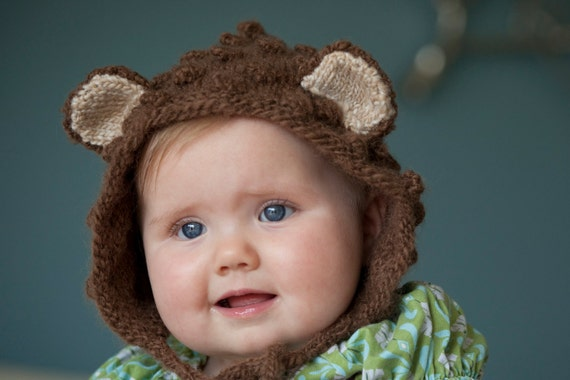 Baby Bonnet, Newborn Bear Bonnet, Infant Bear hat, Brown Bear Hat, Animal Ears Hat, Newborn Photo Prop, Boy Animal hat, Girl Animal hat