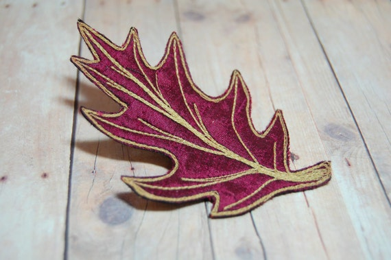 Leaf Hair Clip - Burgundy Red with Gold Veining Oak Leaf Silk Dupioni Hair Clip - Wedding - Mother's Day