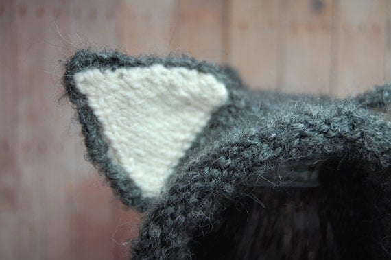 Knit Gray Wolf Hat with Ears Winter Animal Hat Older Child to Adult sizes Bonnet Pixie Photo Prop Gray Grey Black White