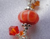 Orange Lampwork Glass Bead Bracelet with Swarovski Crystals (Glass beads made by me)