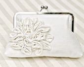 "8"" Ivory Bridal Silk Clutch with Ruffled Flower and Freshwater Pearls - Custom"