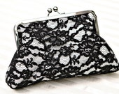 """8"""" Ivory Silk Clutch with Black Lace"""