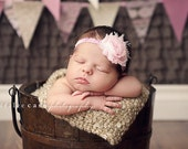 Shabby Chic Frayed Pink Flower Baby Headband. Light Pink Elastic Lace Headband. Flower headband. Stretchy headband. Big flower headband.
