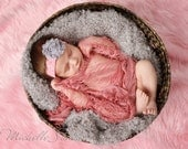 Shabby Chic Frayed Gray Rose Flower Baby Headband. Pink Lace Headband. Flower headband. Stretchy headband. Photography prop Headbands