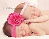 Vintage Inspired Hot Pink Satin Flower Puff Flower Headband. Fuschia Pink elastic baby headbands. Photography prop photo prop