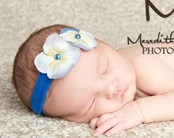 Pearl Blue Orchid 2 Flower Headband. Baby Photo Prop. Blue Elastic. Flower headband. Baby photography. Baby shower gift Baby girl headband