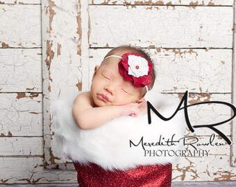 Vintage Inspired Glitter Skinny Headband. Red and White Pearl Flower headband Baby girl Holiday Photography prop photo Baby Shower Gift