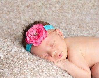 Hot Pink Flower Headband Baby Photo Prop. Turquoise Elastic. Pink headband. baby girl photography. Baby shower gift