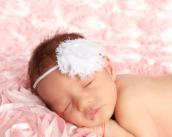 Vintage Inspired Pure White Shabby Chic Flower Headband. White skinny elastic headband. Holiday Photography prop Baby Gift