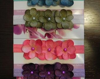 Set of 4 Hydragnea 3 flower headbands. Baby Photo Prop Elastic. Purple turquoise pink green. Flower headband. Baby photography prop photo