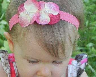 Peachy Pink Orchid Pearl Flower Foldover Elastic Soft Baby Girls Newborn Toddler Infant HEADBAND. Double Flower Headband.