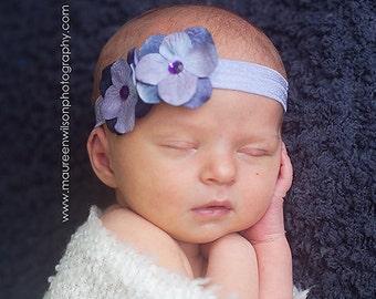 Hydrangea Purple Flower Headband Lavender Foldover Elastic Newborn Toddler Infant HEADBAND Baby girl headbands bow. photography photo prop
