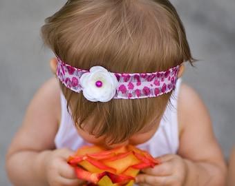 Cream Creamy White Pearl Flower Baby Headband Hot Pink Animal Print Elastic Ruffle Lace. Flower headband. Photography prop. Photo prop