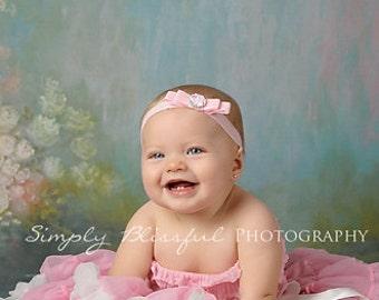 Pale Light Pink Buckle Bow Headband. Soft Elastic Baby Bow Headband. Foldover elastic headband. Infant Baby Toddler Headband. Baby Headband.