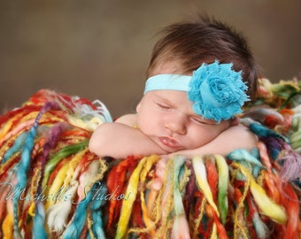 Shabby Chic Frayed Blue Turquoise Rose Flower Baby Headband. Teal Elastic Headband. Flower headband. Stretchy headband. Photography prop