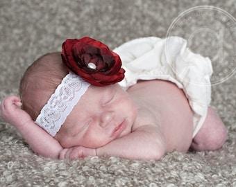 Red Rose Flower Headband Photo Prop Baby White Elastic Lace. Flower headband. newborn photography Photo prop. First Birthday
