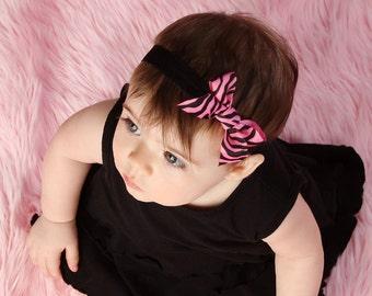 Pink and Black Zebra Animal Print Bow Baby Headband Black Elastic. Photography props. Infant headbands. Baby bow headbands. Baby girl bows.