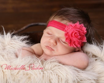 Shabby Chic Frayed Hot Pink Rose Flower Baby Headband. Deep Pink Headband. Flower headband. Stretchy headband. Photography prop Headbands