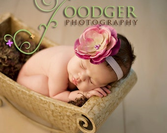 Pink Purple and Lavender Big Flower Baby Headband. Pearl Flower headband Baby girl headbands. Photography prop photo prop Elastic