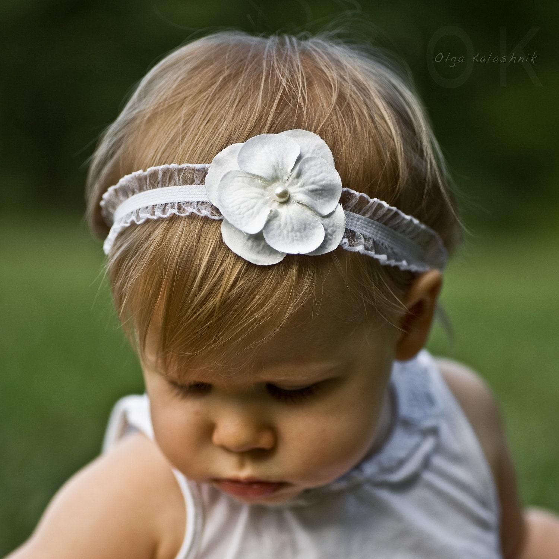 Off White Pearl Flower Headband Photo Prop Baby Elastic Ruffle