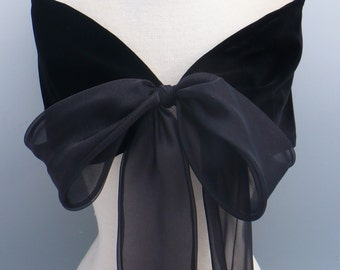 Black Velvet Stole, Evening Wrap, Special Occation, Formal Wedding