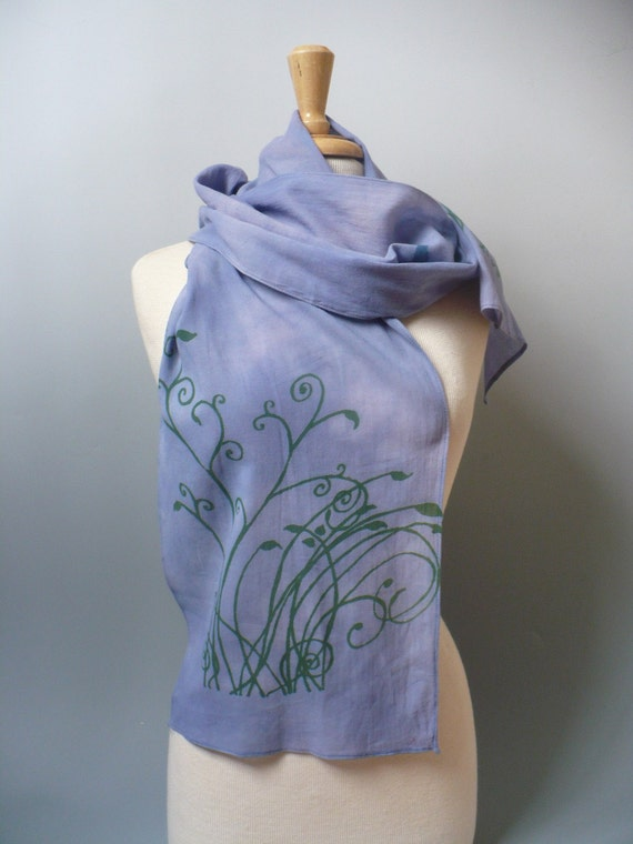 hand dyed scarf, organic cotton, hand printed blue birds